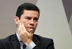 O ministro da Justiça, Sergio Moro, fala à CCJ do Senado sobre conversas vazadas sobre Lava Jato Foto: EVARISTO SA 19-06-2019 / AFP