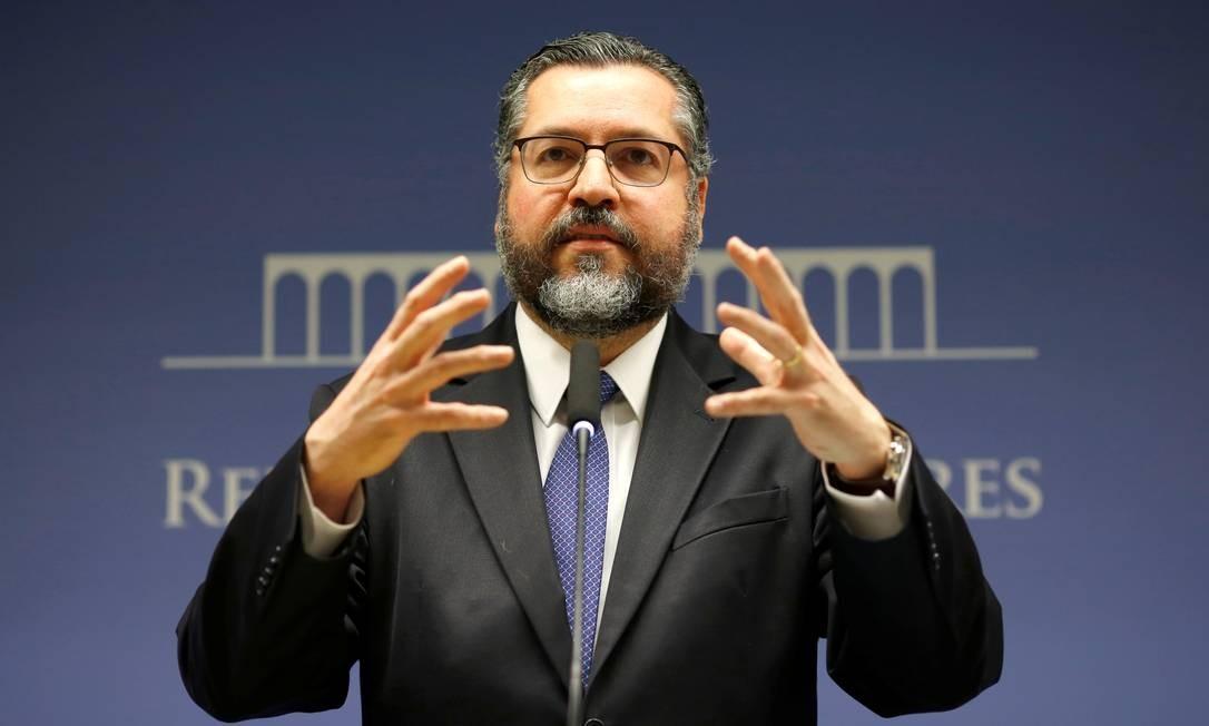 O chanceler Ernesto Araujo afirma que acordo entre Mercosul e União Europeia é de proteção ambiental Foto: Adriano Machado / Reuters