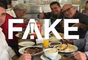 É #FAKE que foto mostre sargento preso na Espanha à mesa com Bolsonaro Foto: Reprodução