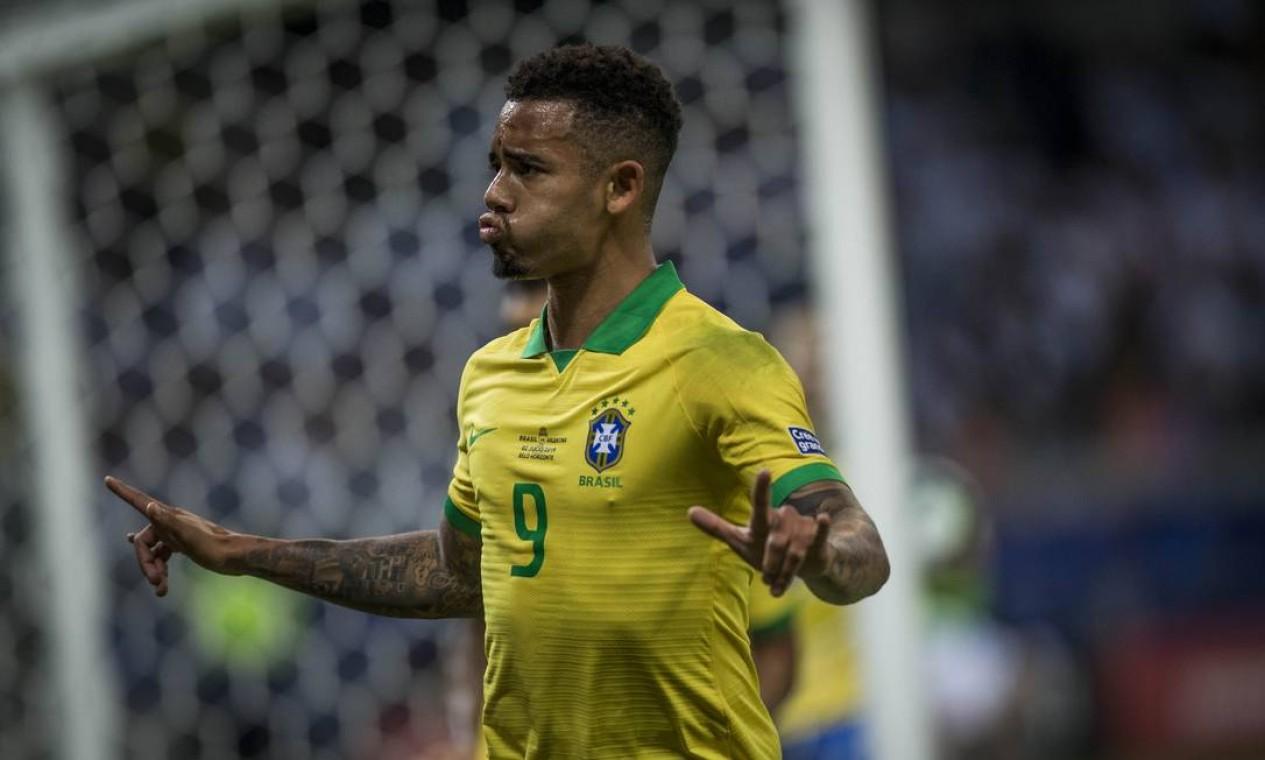 Gabriel Jesus comemora o gol que abriu o placar contra a Argentina no Mineirão Foto: Guito Moreto / Agência O Globo