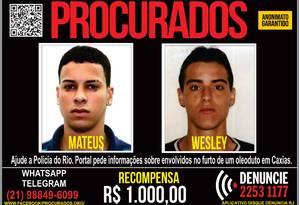 Mateus Kevin da Silva Belo, de 24 anos e Wesley Muniz Pollete, de 37, são acusados de participação em roubo de combustível em Duque de Caxias Foto: Divulgação/ Pmerj