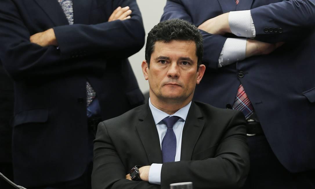 O ministro da Justiça, Sergio Moro, participa de audiência conjunta entre quatro comissões, na Câmara dos Deputados, sobre as supostas mensagens trocadas com o coordenador da Operação Lava-Jato, o procurador Deltan Dallagnol Foto: Jorge William / Agência O Globo - 02/07/2019
