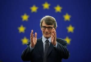 O italiano David-Maria Sassoli reage ao ser eleito novo presidene do Parlamento Europeu Foto: VINCENT KESSLER / REUTERS