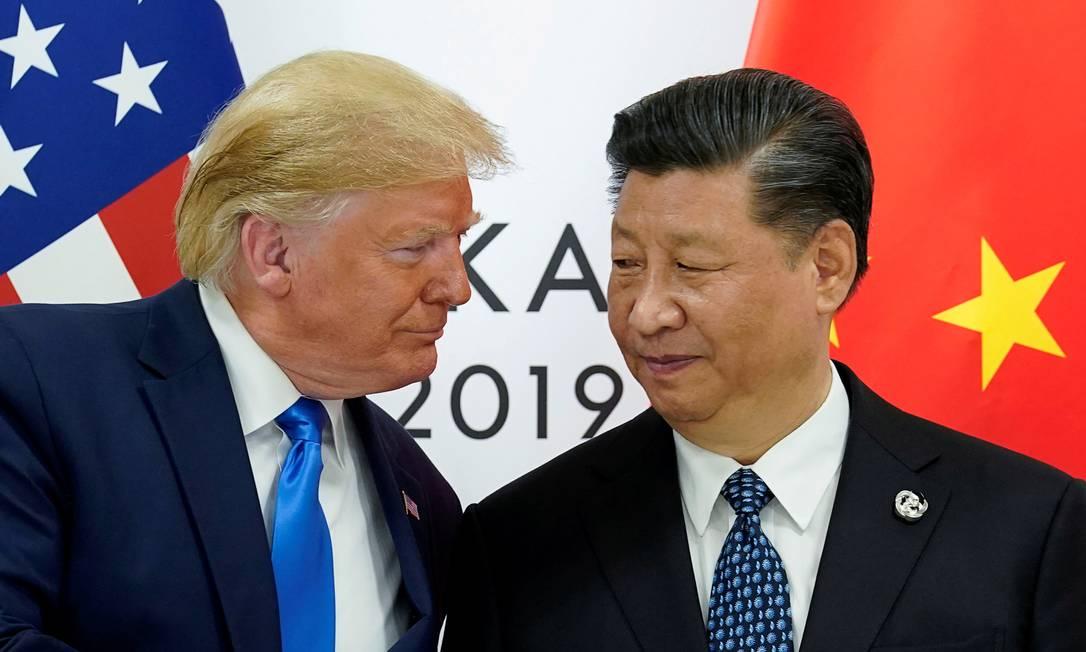 Donald Trump e Xi Jinping durante o encontro do G20, no Japão Foto: Kevin Lamarque / REUTERS