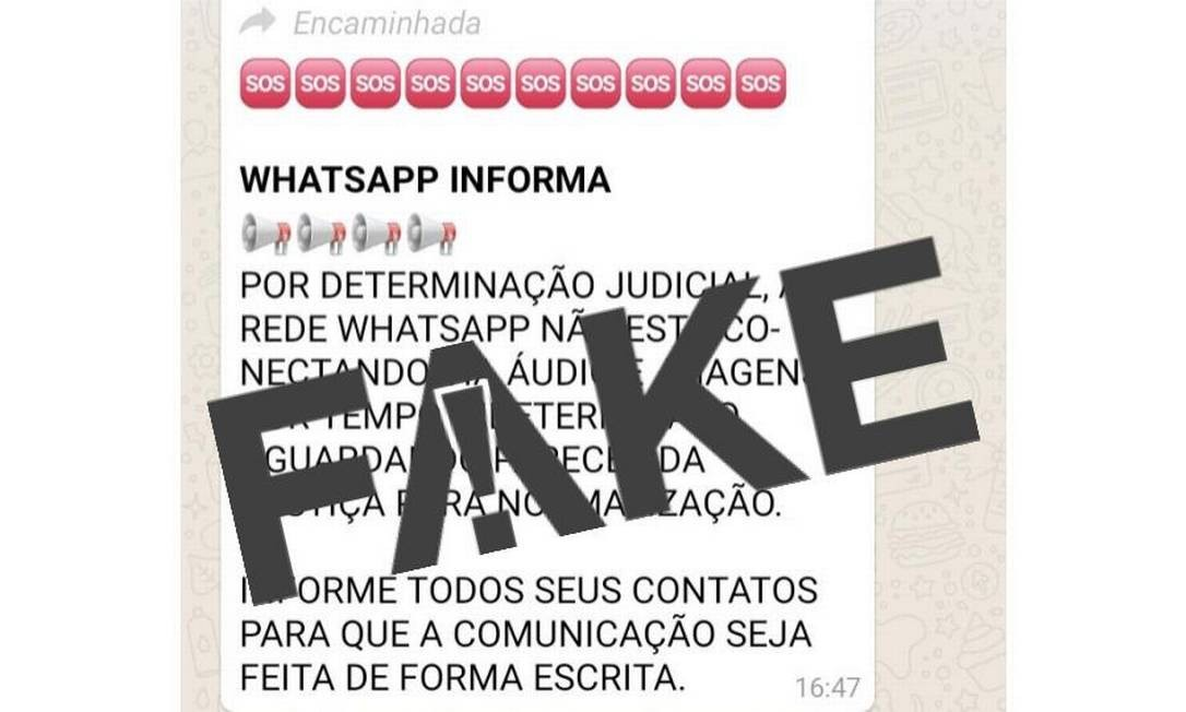 Mensagem que circula nas redes é Fake Foto: Reprodução