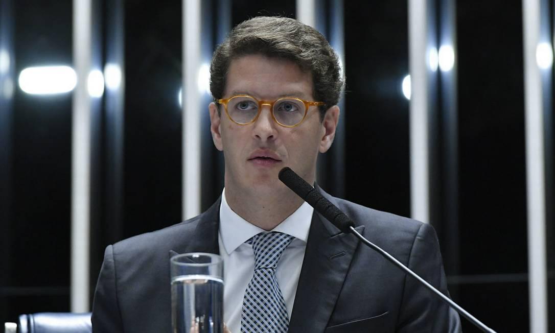 Ricardo Salles durante sessão no Senado destinada a celebrar o Dia Mundial do Meio Ambiente Foto: Geraldo Magela / Agência O Globo