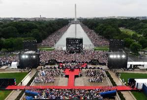 """O presidente dos EUA, Donald Trump, faz discurso durante os festejos de 4 de Julho em Washington, chamados esse ano de """"Saudação aos EUA"""" Foto: SUSAN WALSH / AFP"""
