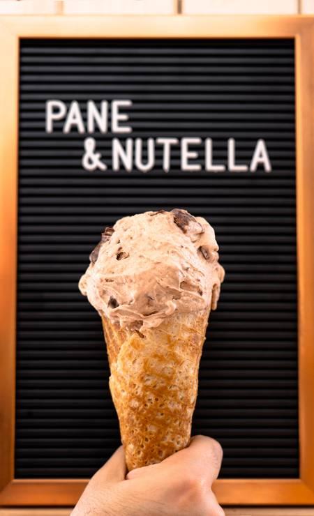 Bacio di Latte: A novidade este mês no Bacio di Latte é o Panne com Nutella: a partir de R$ 12,50, tem combo com sorvete de Nutella ( ao lado) mais pão, tipo Altamura italiano, com o creme de avelã. Foto: Divulgação / Divulgação