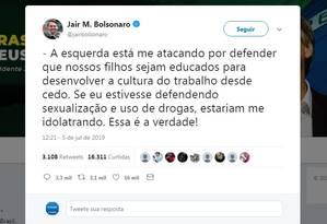 Bolsonaro volta a falar de trabalho infantil no Twitter Foto: Reprodução