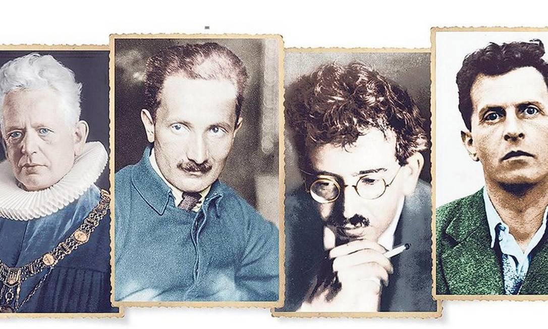 """Ernst Cassirer, Martin Heidegger, Walter Benjamin e Ludwig Wittgenstein, filósofos que são protagonistas do livro """"Tempo de mágicos"""" Foto: Divulgação"""
