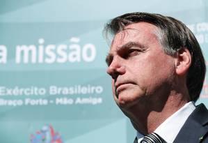 Presidente Jair Bolsonaro, durante coletiva de imprensa Foto: Marcos Correa / Agência O Globo
