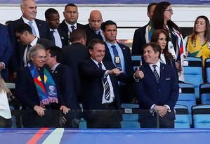 Presidente Jair Bolsonaro assiste à final da Copa América ao lado de ministros do governo Foto: LUISA GONZALEZ 07-07-2019 / REUTERS