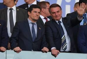 Jair Bolsonaro e Sergio Moro Foto: CARL DE SOUZA / AFP