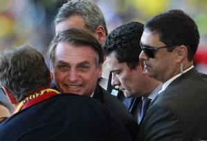 Jair Bolsonaro e Sergio Moro na final da Copa América Foto: Márcio Alves / O Globo - 07/07/2019