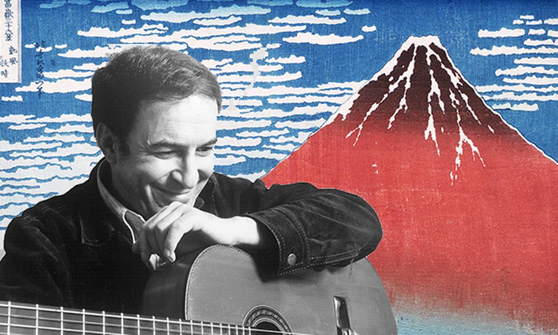 Montagem com imagem de João Gilberto e uma gravura de Hokusai, da série de 36 vistas do Monte Fuji Foto: Barney Burstein (gravura) / Michael Ochs Archives | Corbis | VCG via Getty