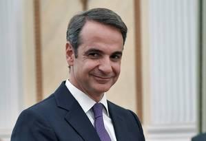 Líder do partido Nova Democracia, Kyriakos Mitsotakis toma posse como primeiro-ministro da Grécia em Atenas Foto: LOUISA GOULIAMAKI / AFP