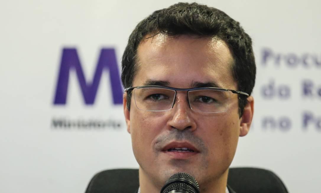 O procurador Deltan Dallagnol, no auditório do Ministério Público do Paraná, em Curitiba Foto: Geraldo Bubniak/Agência O Globo/16-03-2019