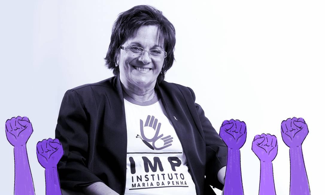 Maria da Penha foi vítima de dupla tentativa de femicídio, em 1983. Sua busca por justiça inspirou a criação da lei que leva seu nome Foto: Arte de Ana Luiza Costa sobre foto divulgação