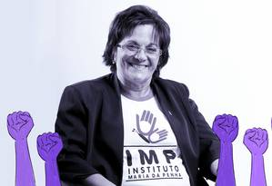 Maria da Penha inspirou a lei que levou seu nome Foto: Arte de Ana Luiza Costa sobre foto de Cid Moreira / Divulgação Instituto Maria da Penha