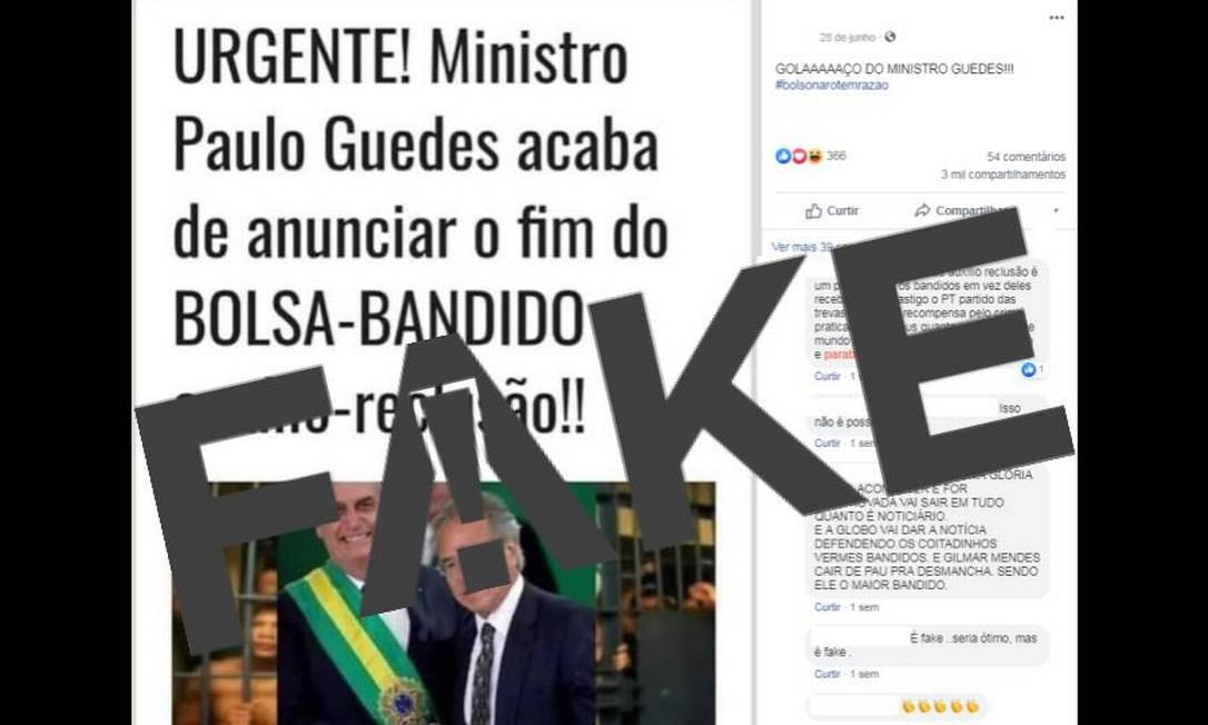 É #FAKE que ministro Paulo Guedes anunciou o fim do auxílio-reclusão Foto: Reprodução