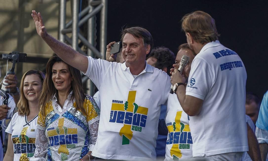 Jair Bolsonaro na 27ª edição da Marcha para Jesus em 20 de junho de 2019. Foto: MIGUEL SCHINCARIOL / AFP