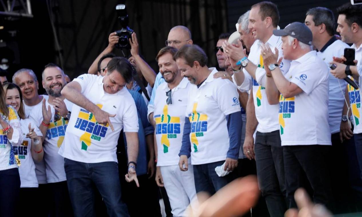 Jair Bolsonaro participou da 27ª edição da Marcha Para Jesus este ano em São Paulo. O evento foi organizado por evangélicos Foto: Nacho Doce 20/06/ 2019 / Reuters
