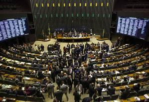 Tentativa da oposição de retirar a reforma da Previdência da pauta foi derrubada. Projeto será votado nesta quarta Foto: Daniel Marenco / Agência O Globo