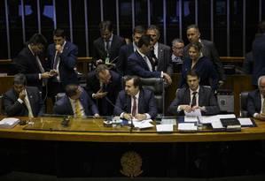 Tentativa da oposição de retirar a reforma da Previdência da pauta foi derrubada. Projeto começa a ser votado nesta quarta Foto: Daniel Marenco / Agência O Globo