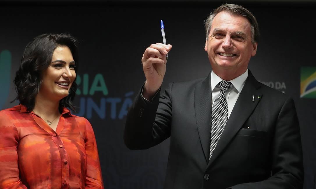Jair Bolsonaro e Michelle Bolsonaro Foto: Marcos Corrêa/Presidência