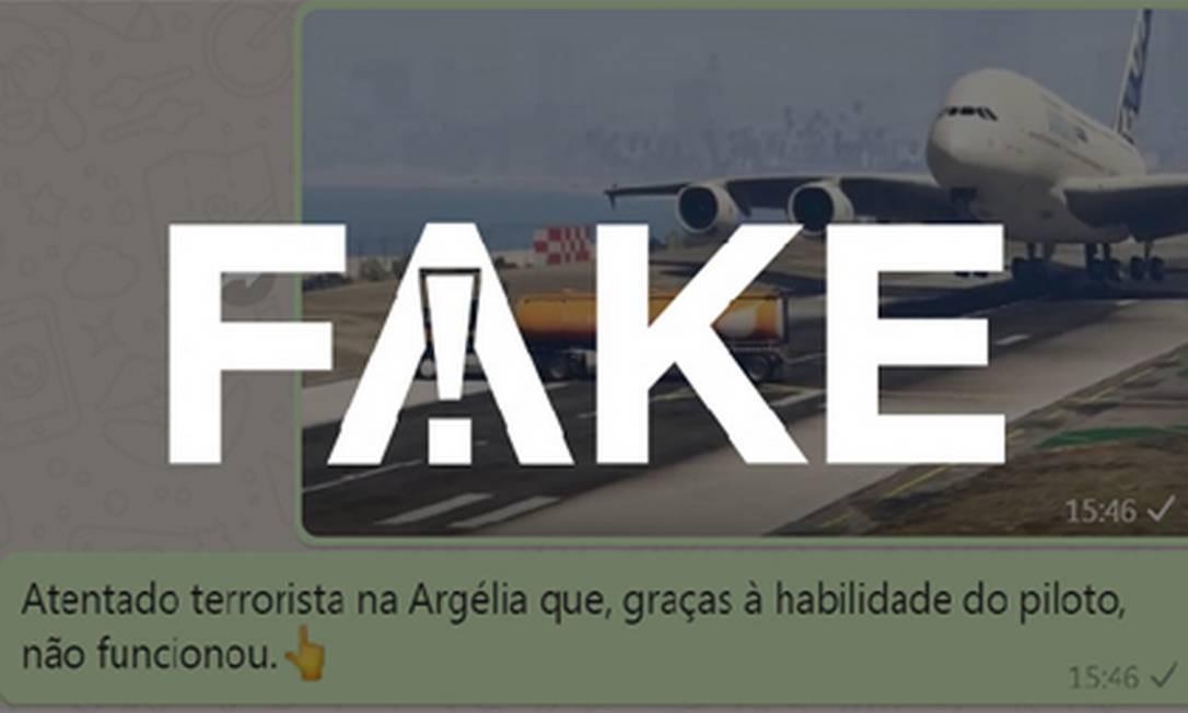É #FAKE que vídeo em que avião desvia de caminhão-tanque seja de tentativa de atentado na Argélia Foto: Reprodução