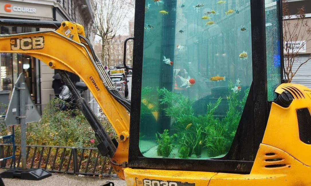 Uma escavadeira foi adaptada para um aquário Foto: Reprodução / Instagram