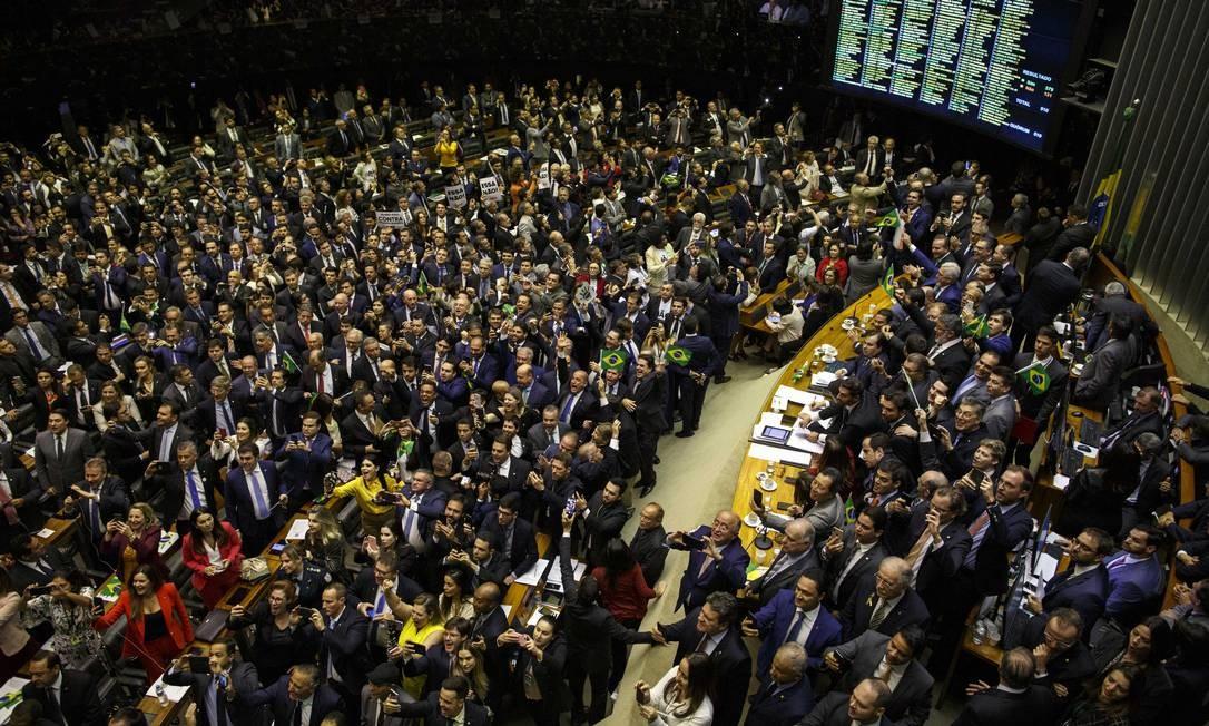 Com 379 votos a favor, Câmara aprova a reforma da Previdência em 1º turno Foto: Daniel Marenco / Agência O Globo
