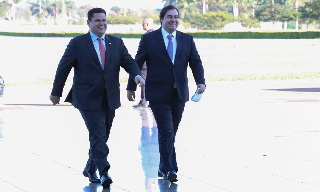 Davi Alcolumbre, presidente do Senado Federal, e Rodrigo Maia, presidente da Câmara dos Deputados Foto: Marcos Corrêa / Agência O Globo