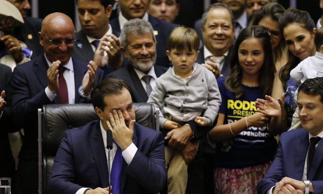 Eleições para o novo presidente da Câmara dos Deputados. Na foto, o presidente eleito, Rodrigo Maia Foto: Jorge William / Agência O Globo