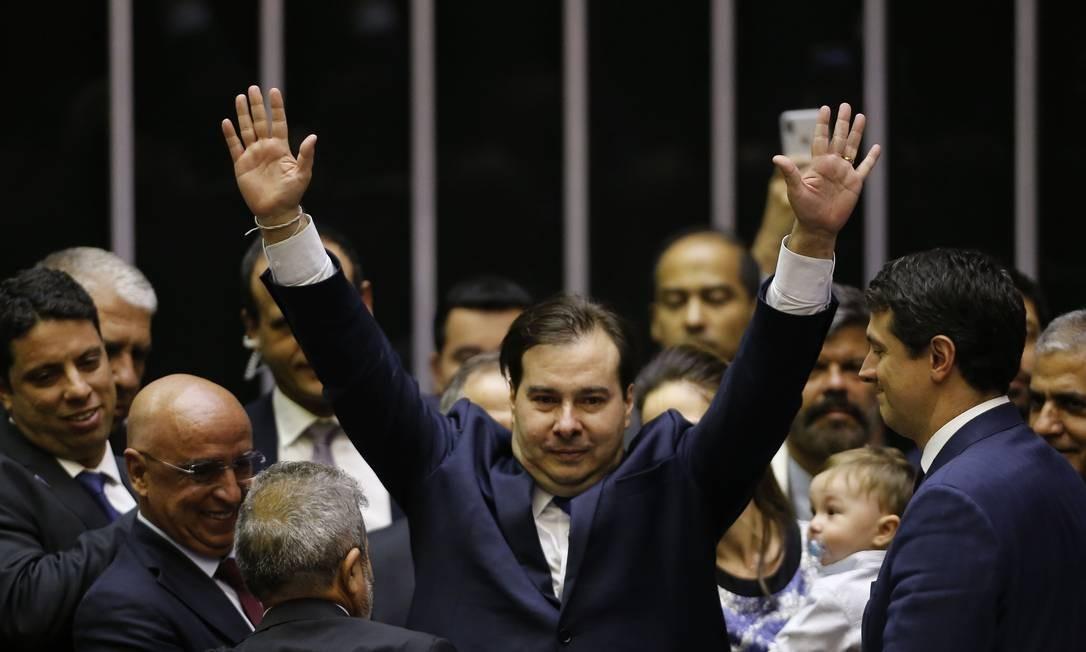 Rodrigo Maia comemora a reeleição à presidência da Câmara dos Deputados Foto: Jorge William / Agência O Globo