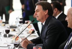 O presidente Jair Bolsonaro no café da manhã com a bancada da Frente Parlamentar Evangélica no Congresso Nacional. Foto: Marcos Corrêa/Presidência / Agência O Globo
