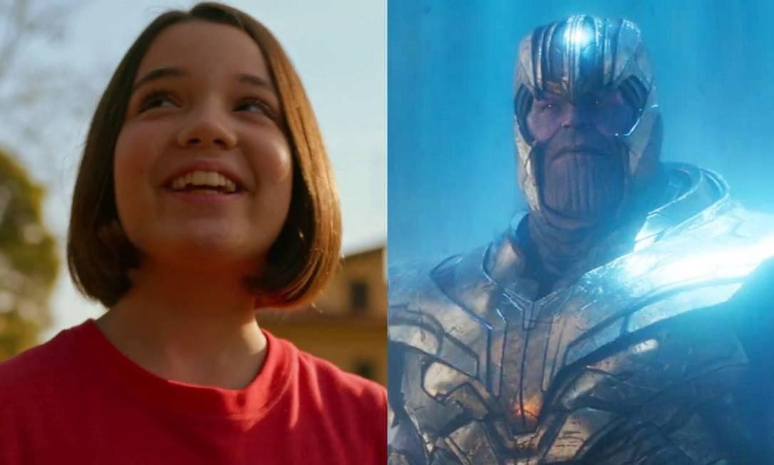 Mônica (Giulia Benite) e Thanos (Josh Brolin) Foto: Reprodução