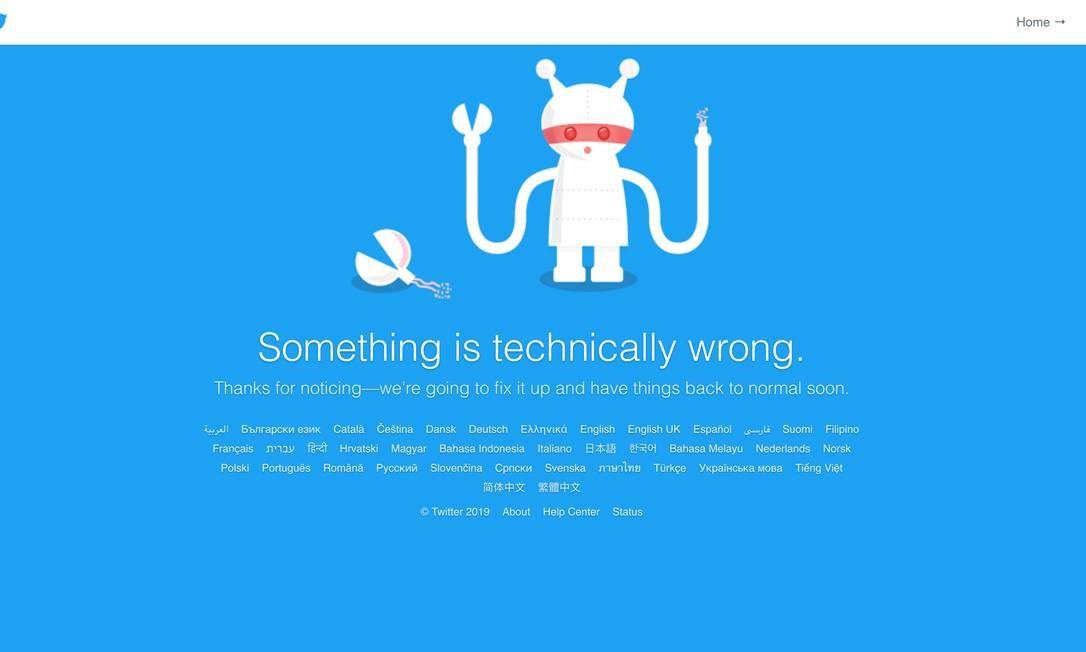 Mensagem de erro era apresentada aos usuários que tentavam acessar a plataforma Foto: Reprodução