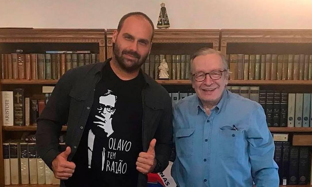 Olavo de Carvalho, guru da direita e um dos principais representantes do ultraconservadorismo brasileiro, tem entre seus admiradores Eduardo Bolsonaro Foto: Reprodução/Twitter