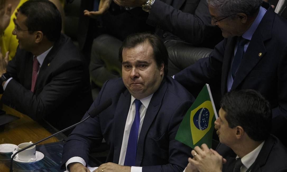 Emocionado, o presidente da Câmara dos Deputados, Rodrigo Maia, chorou durante votação da Reforma da Previdência Foto: Daniel Marenco / Agência O Globo