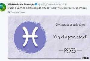 MEC posta campanha com os 'estudantes de cada signo' nas redes sociais Foto: Reprodução
