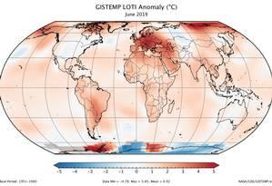 Mapa da Nasa mostra o quanto as temperaturas de junho passado variaram fora da média Foto: Nasa