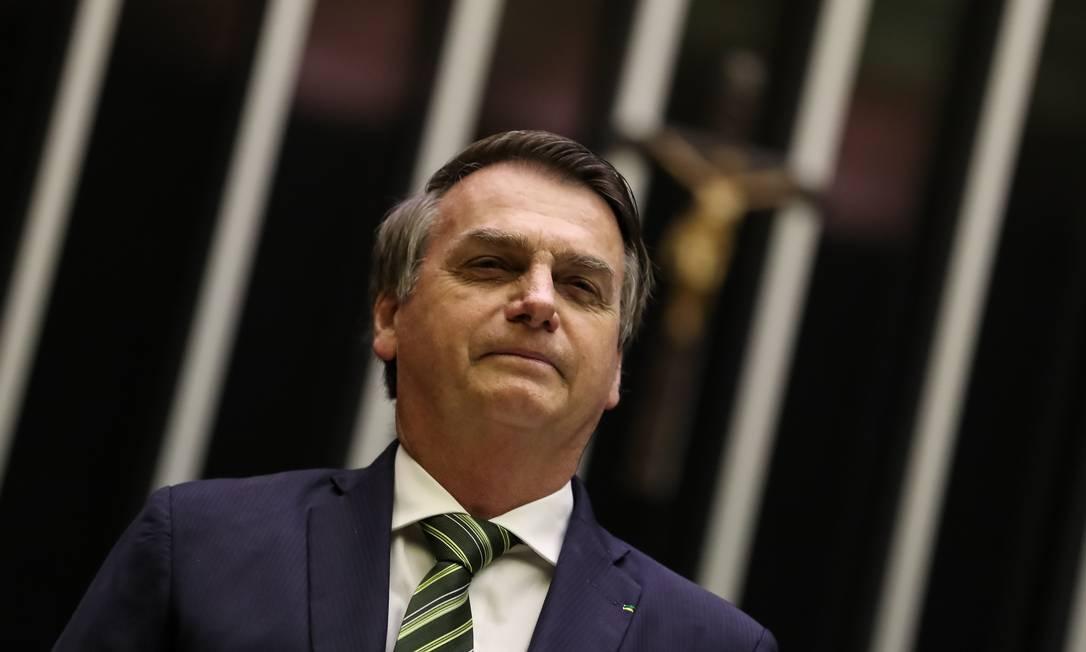 Presidente da República, Jair Bolsonaro, durante sessão solene em homenagem ao aniversário do Comando de Operações Especiais do Exército Brasileiro (COpEsp). Foto: Marcos Corrêa/PR / Agência O Globo