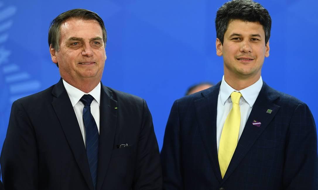 Bolsonaro durante a cerimônia de posse de Gustavo Montezano como novo presidente do Banco Nacional de Desenvolvimento Econômico e Social (BNDES), em Brasília Foto: EVARISTO SA / AFP