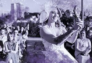 Jussara Couto casou consigo mesma para celebrar seu amor-próprio Foto: Arte de Clara Brandão sobre foto de Bitar e Paiva