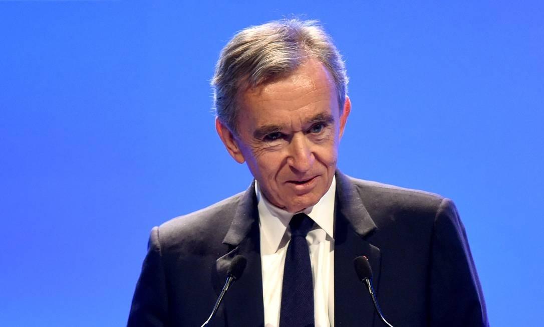 Bernard Arnault apresenta os resultados anuais da LVMH na sede do grupo, em Paris Foto: Eric Piermont / AFP