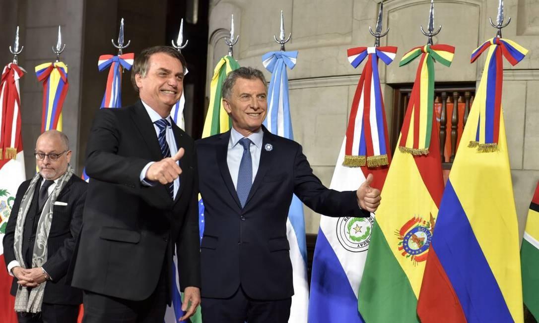 Bolsonaro e Macri na cúpula do Mercosul em Santa Fé: referências à Venezuela Foto: HANDOUT / REUTERS