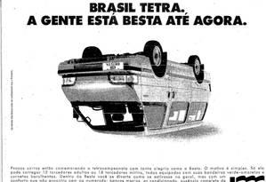 Publicidade da Besta após o título de 1994 Foto: Reprodução