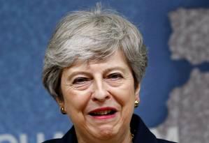 Primeira-ministra britânica, Theresa May, durante discurso em Londres Foto: HENRY NICHOLLS / AFP