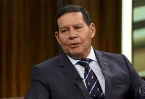 """Vice-presidente Hamilton Mourão em entrevista ao """"Programa do Bial"""" Foto: Reprodução"""